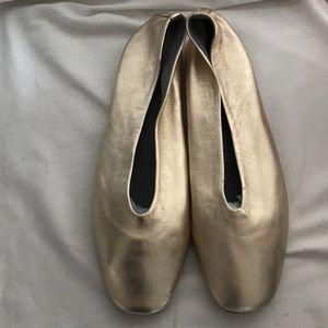 Topshop gold flat ballet shoes Euro41 US10.5